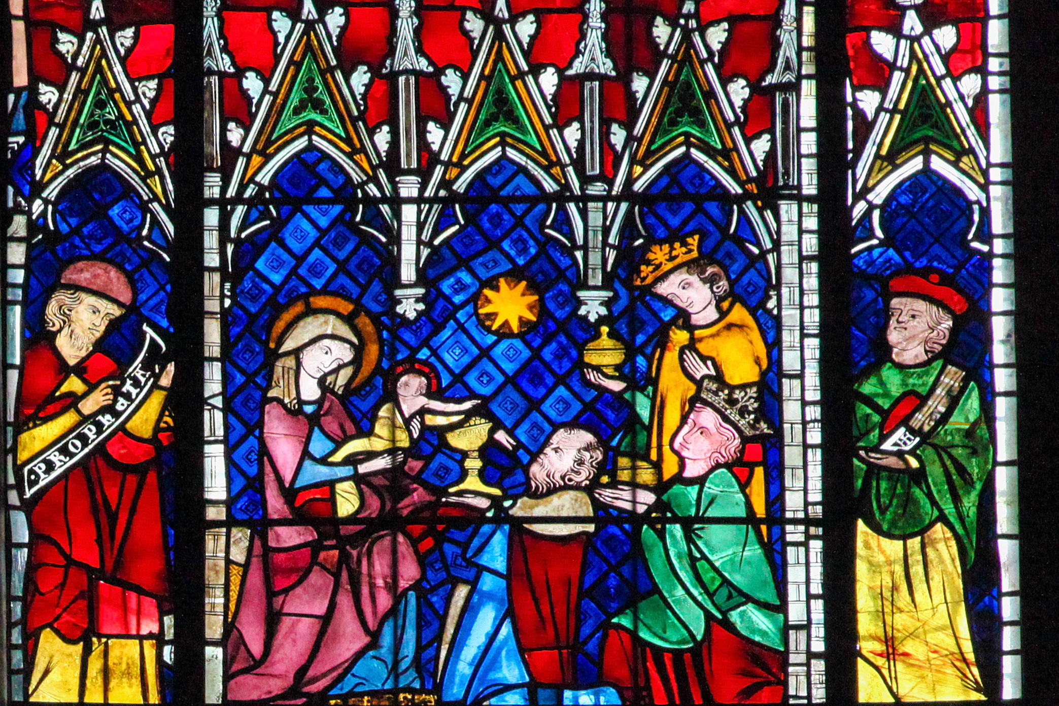 Stained glass depicting the Adoration of the Magi in the cathedral of Strasbourg, France